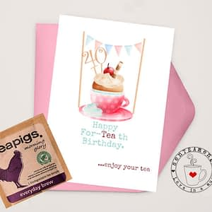 number birthday card with teabag
