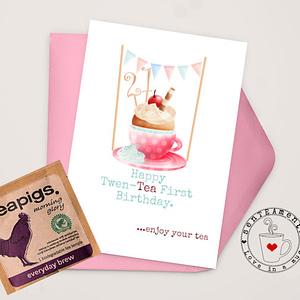21st birthday card for tea lovers