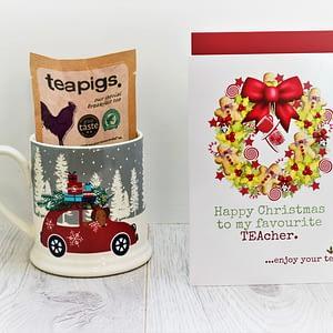 senteaments Teacher Christmas tea card