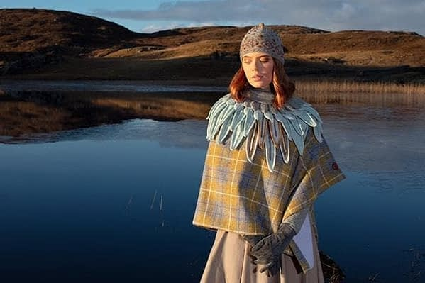 mustard and silver harris tweed cape