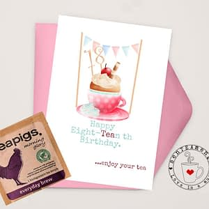 18th birthday card for tea lovers