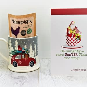 santa christmas tea card