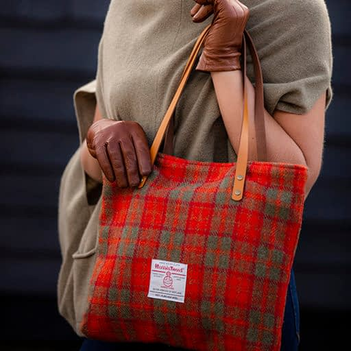 Orange Check Harris Tweed tote bag
