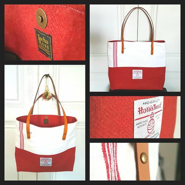 Rust torchon tote bag details.