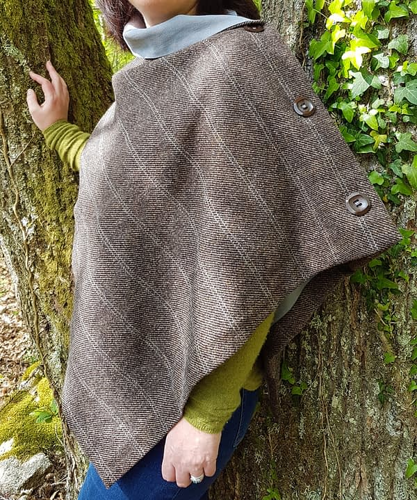 brown herringbone and check cape
