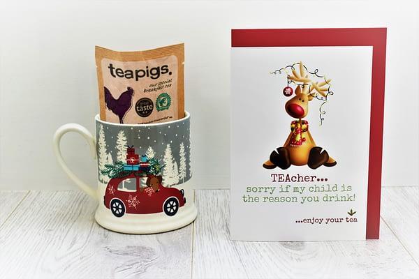 Christmas tea card for teacher