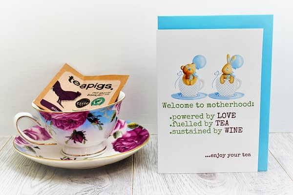 new baby card for tea lovers