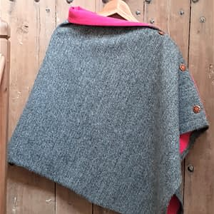 Grey black herringbone cape