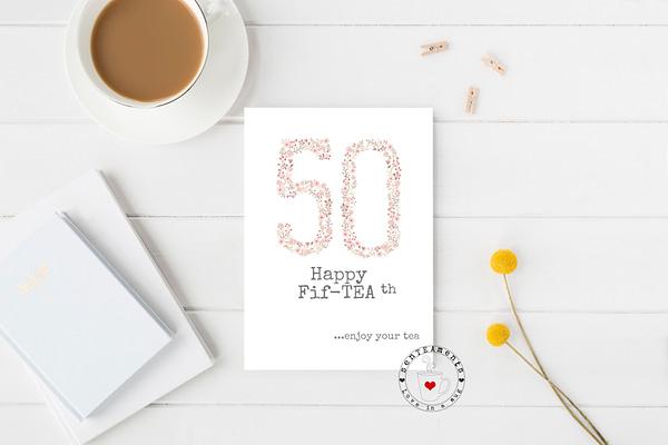 50th tea lovers card